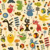 Coloridos patrones sin fisuras con monstruos felices y flores. — Vector de stock