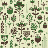 Vintage seamless pattern with green and brown flowers. — Stock Vector