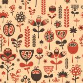 Vintage seamless pattern with red and brown flowers. — Stock Vector