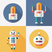 Robots flat round and square icons with long shadows. Set 15 — Stock Vector
