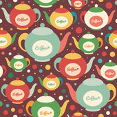Colorful seamless pattern with coffee kettles and circles. — Stock Vector