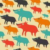 Seamless pattern with colorful dogs. — Stock Vector