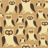 Seamless pattern with colorful owls. — Stock Vector