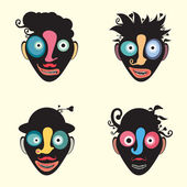 Set of colorful funny clown faces. — Stock Vector