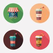 Coffee shop and paper coffee cups flat round icons. — Vector de stock