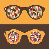 Set of hipster sunglasses with triangles and semicircles. — Stock Vector