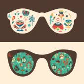 Set of hipster sunglasses with colorful flowers and foliage. — Stock Vector
