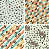Set of seamless patterns with geometric shapes and crocodiles. — Stock Vector