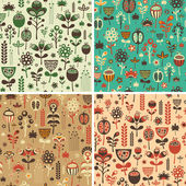 Set of seamless patterns with colorful flowers and foliage. — Stock Vector