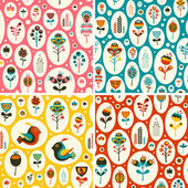 Set of seamless patterns with flowers and birds in snowballs. — Stock Vector
