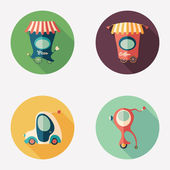 Pizza and coffee shops with retro transport flat round icons. — Stock Vector