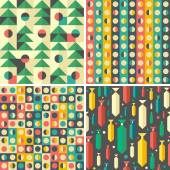Set of colorful geometric seamless patterns. — Stock Vector