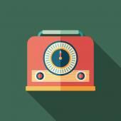 Retro radio receiver flat square icon with long shadows. — Vetorial Stock