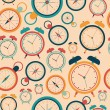 Постер, плакат: Seamless pattern with retro alarm clocks and pocket watches
