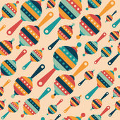 Retro seamless pattern with colorful baby rattles. — 图库矢量图片