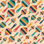 Retro seamless pattern with colorful baby rattles. — Stock Vector