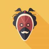 Carnaval masker met snor Platte vierkante pictogram met lange schaduwen. — Stockvector
