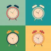 Colorful set of retro alarm clocks. — Stock Vector