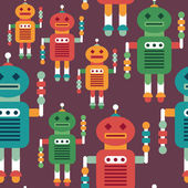 Colorful seamless pattern with intelligent robots. — Vettoriale Stock
