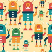 Colorful seamless pattern with happy hipster robots. — Vector de stock