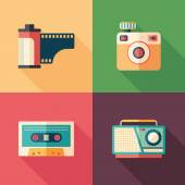 Set of vintage photo and audio flat icons with long shadows. — Stock Vector