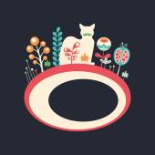 Colorful banner with cat and flowers on dark background. — ストックベクタ
