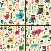 Set of floral seamless patterns with birds and animals. — Stock Vector