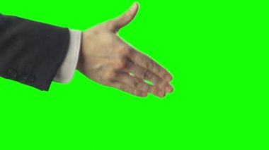 Handshake on Green Screen — Stock Video