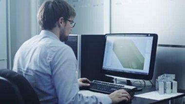 Engineer is Working in CAD Program — Vídeo de Stock