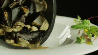Chef Pouring Boiled Oysters into Plate. — Stock Video