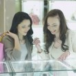 Two Girls in Jewelry Store are Watching at Display Windows — Stock Video #77047261