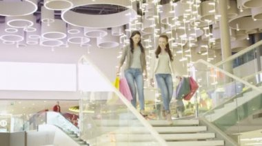 Two Girls with Shopping Bags are Moving Down The Stairs in Shopping Mall — Stock Video