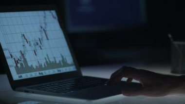 Businessman is Checking Stock Charts at Night — Stock Video