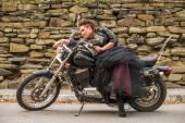 Woman biker on her motorcycle. — Photo