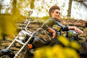 Woman biker on her motorcycle. — Stock Photo