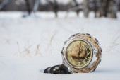 Retro clock in the snow — Stock Photo