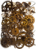 Old watch gears background isolated on the white — Stock Photo