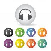 Headphones icon set — Stock Vector