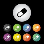 Capsule medicine button set — Stock Vector