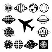Plane and globe — Stock Vector