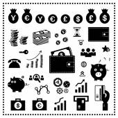 Money and financial icon set  — Stock Vector