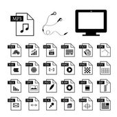 Computer and file type icon — ストックベクタ