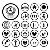 Children action welfare icon — Vector de stock