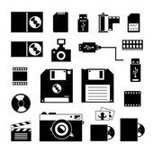 Dator och lagring ikoner set — Stockvektor