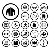 Sports and healthy icons set — Stock Vector