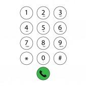 Flat keypad for phone — Stock Vector