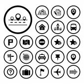 Map and location icons — Stock Vector