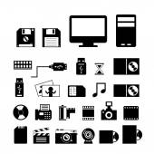 Computer and storage icons set — Stock Vector