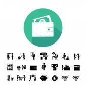 Shopping and delivery icons — Cтоковый вектор