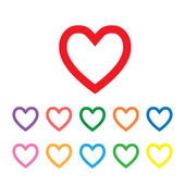 Simboli di forma del cuore — Vettoriale Stock